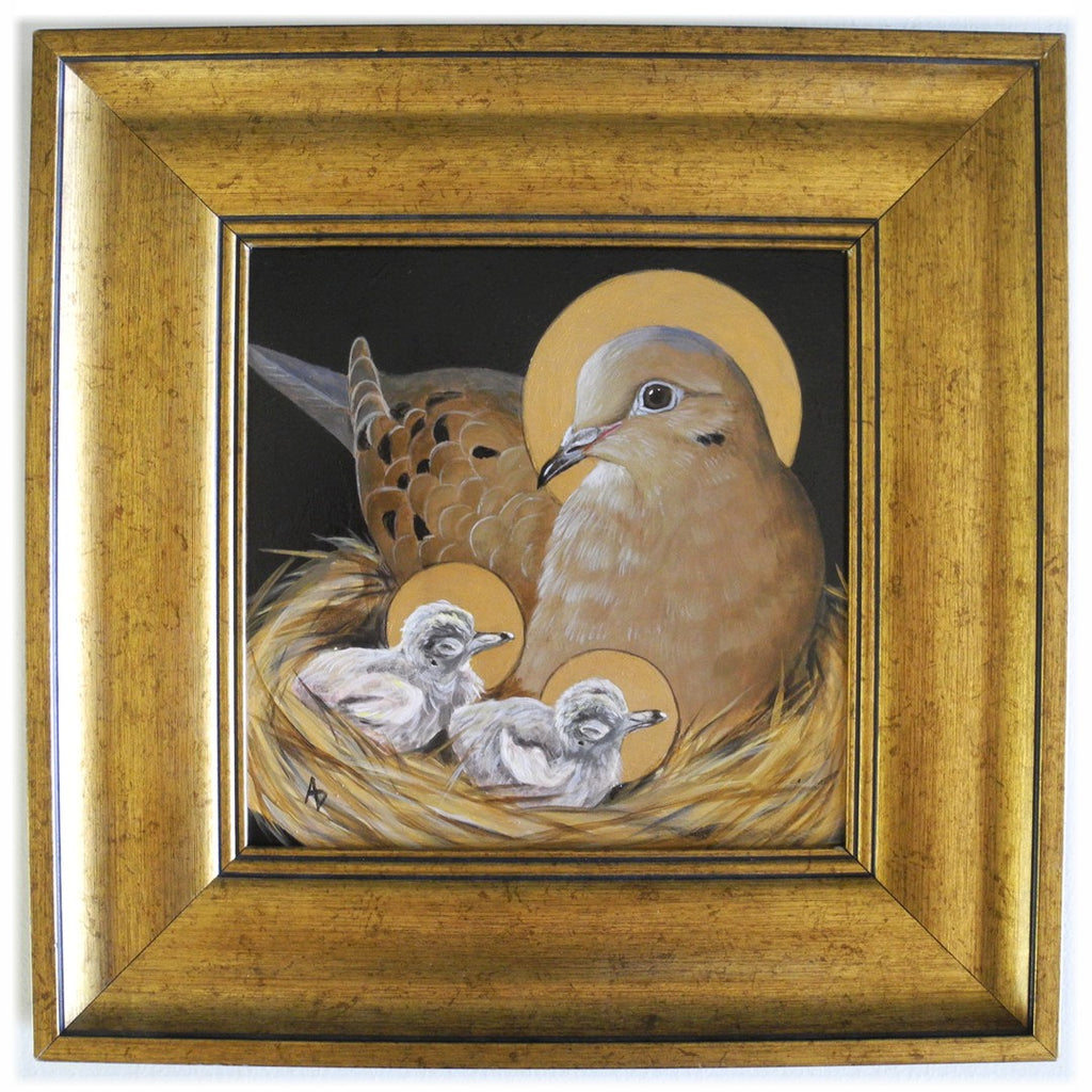 mourning dove theotokos painting in byzantine style gold