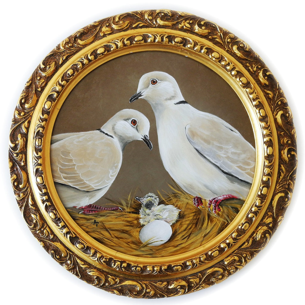 painting of ringneck dove family on a nest with chick and egg