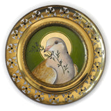 Olive Branch Peace Dove painting in ornate pierced brass frame