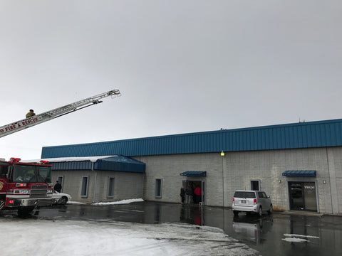 Provo Ut Fire department checking roof of ExactRail building