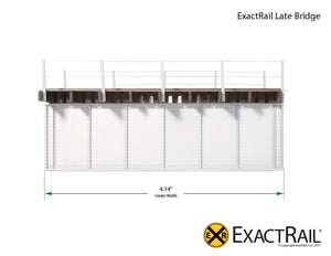 HO Scale: 30' Deck Plate Girder Bridge, Cable Handrails - Black, Silver, Green - ExactRail Model Trains - 9