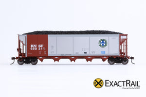 X - Johnstown America AutoFlood II Coal Hopper : BNSF (Brown) (4-pack) - ExactRail Model Trains - 2