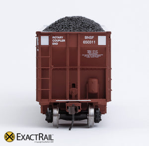 X - Johnstown America AutoFlood II Coal Hopper : BNSF (Brown) (4-pack) - ExactRail Model Trains - 6