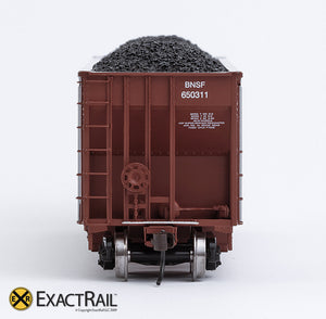X - Johnstown America AutoFlood II Coal Hopper : BNSF (Brown) (4-pack) - ExactRail Model Trains - 5