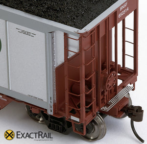 X - Johnstown America AutoFlood II Coal Hopper : BNSF (Brown) (4-pack) - ExactRail Model Trains - 4