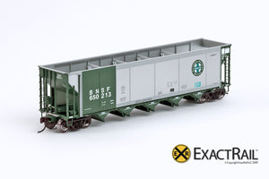 X - Johnstown America AutoFlood II Coal Hopper : BNSF (Green) (4-pack) - ExactRail Model Trains - 2