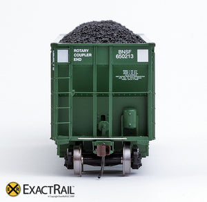 X - Johnstown America AutoFlood II Coal Hopper : BNSF (Green) (4-pack) - ExactRail Model Trains - 9