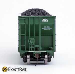 X - Johnstown America AutoFlood II Coal Hopper : BNSF (Green) (4-pack) - ExactRail Model Trains - 10