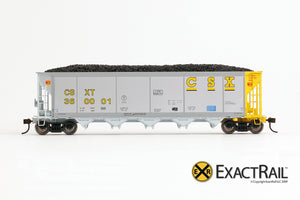 X - Johnstown America AutoFlood II Coal Hopper : CSXT (4-pack) - ExactRail Model Trains - 3