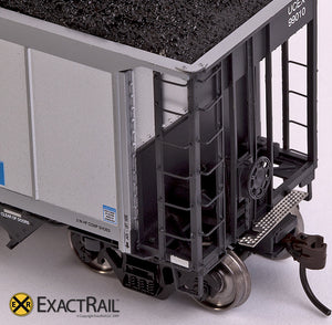 X - Johnstown America AutoFlood II Coal Hopper : UCEX (4-pack) - ExactRail Model Trains - 7