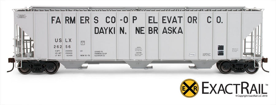 HO Scale: Evans 4780 Covered Hopper - Daykin Farmers CO-OP/USLX