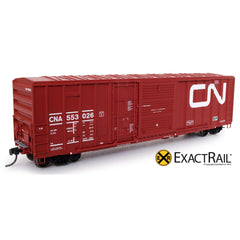 "HO Scale: FMC 5277 ""Combo Door"" Boxcar - CN - 1985 ""Wet Noodle"" with 9 Panel Roof"