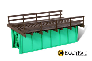 HO Scale: 30' Deck Plate Girder Bridge, Wood Handrails - Black, Silver, Green - ExactRail Model Trains - 3