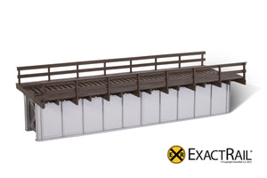 50' Deck Plate Girder Bridge, Wood Handrails - Black, Silver, Green - ExactRail Model Trains - 3