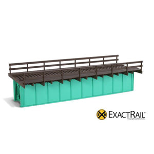 HO Scale: 50' Deck Plate Girder Bridge, Wood Handrails - Black, Silver, Green