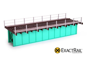 50' Deck Plate Girder Bridge, Cable Handrails - Black, Silver, Green - ExactRail Model Trains - 2