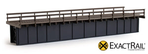 72' Deck Plate Girder Bridge, Wood Handrails - Black, Silver, Green - ExactRail Model Trains - 2