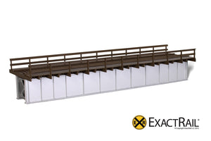 72' Deck Plate Girder Bridge, Wood Handrails - Black, Silver, Green - ExactRail Model Trains - 3
