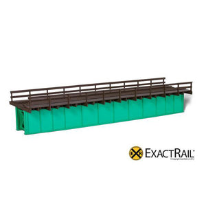 HO Scale: 72' Deck Plate Girder Bridge, Wood Handrails - Black, Silver, Green