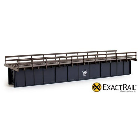HO Scale: 72' Deck Plate Girder Bridge: Wood Handrails - PRR