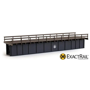 HO Scale: 72' Deck Plate Girder Bridge - Wood Handrails - B&O