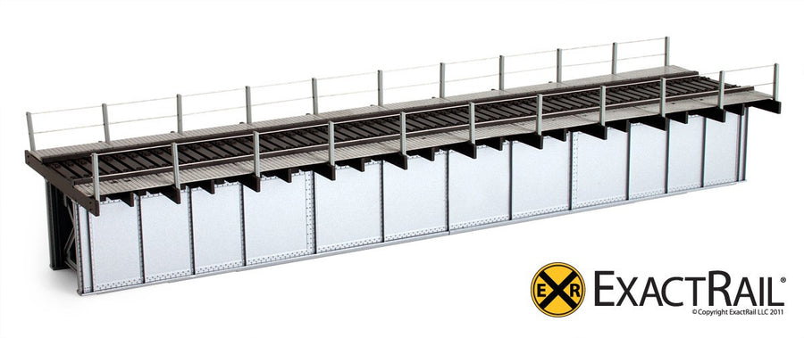 HO Scale: 72' Deck Plate Girder Bridge, Cable Handrails - Black, Silver, Green