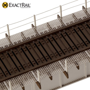 72' Deck Plate Girder Bridge, Cable Handrails - Black, Silver, Green - ExactRail Model Trains - 6