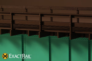 HO Scale: 30' Deck Plate Girder Bridge, Wood Handrails - Black, Silver, Green - ExactRail Model Trains - 6