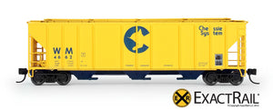 N - PS-2CD 4427 Covered Hopper : Chessie System - ExactRail Model Trains - 2