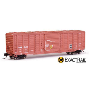 "N Scale: PS 50' Waffle Boxcar - DME ""DF Equipped"" Brown"