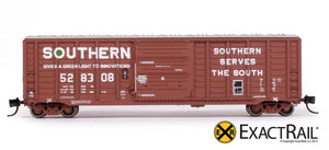 "N - PS 50' Waffle Boxcar : SOU ""As Delivered"" - ExactRail Model Trains - 2"