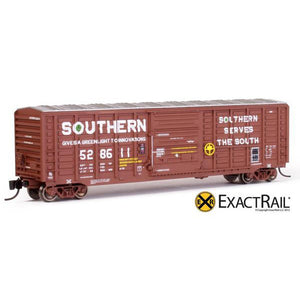 N Scale: PS 50' Waffle Boxcar - SOU Brown w/ Door Opener