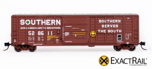N - PS 50' Waffle Boxcar : SOU Brown w/ Door Opener - ExactRail Model Trains - 2