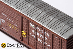 N - PS 50' Waffle Boxcar : SOU Brown w/ Door Opener - ExactRail Model Trains - 3