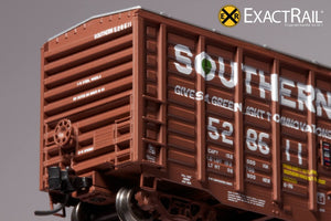 N - PS 50' Waffle Boxcar : SOU Brown w/ Door Opener - ExactRail Model Trains - 5