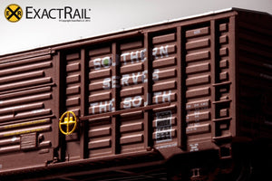 N - PS 50' Waffle Boxcar : SOU Brown w/ Door Opener - ExactRail Model Trains - 6