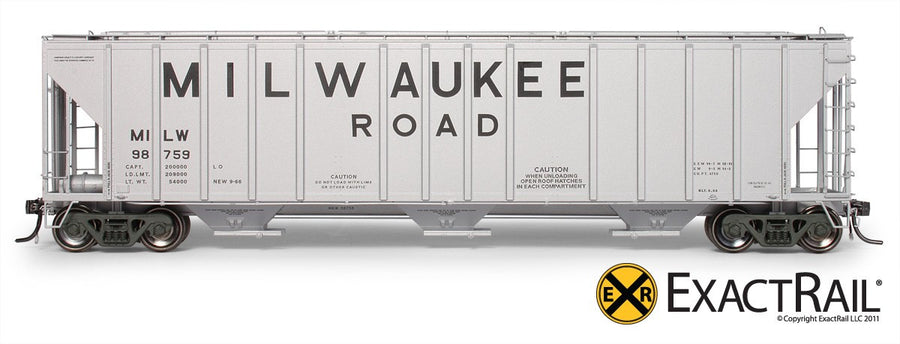 HO Scale: Magor 4750 Covered Hopper - Milwaukee Road