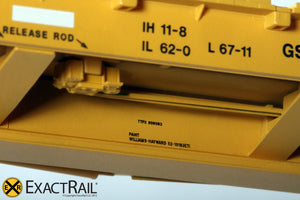 "Trenton Works 67'-11"" Bulkhead Flat Car : TTX : 3 Stripe White Conspicuity - ExactRail Model Trains - 4"
