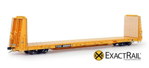 "HO Scale: Trenton Works 67'-11"" Bulkhead Flat Car - TTX - Forward Thinking' Logo"