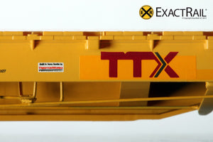 "X - Trenton Works 67'-11"" Bulkhead Flat Car : TTX : Forward Thinking' Logo - ExactRail Model Trains - 4"