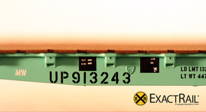 GSC 42' Flat Car : UP : MOW : 913243 - ExactRail Model Trains - 2