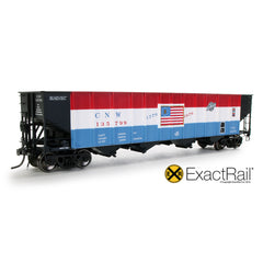 HO Scale: Bethlehem 3737 Hopper : CNW : 135799 Bicentennial - ExactRail Model Trains - 1