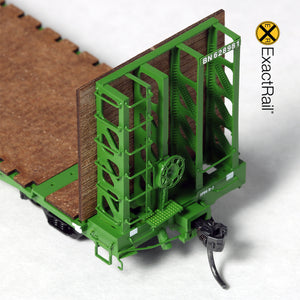 "HO Scale: GSI 53'-6"" Bulkhead Flat Car - Burlington Northern"