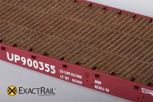 GSC 53'-6 Flat Car : 42' Truck Centers : UP : MoW Brown : 900355 - ExactRail Model Trains - 5