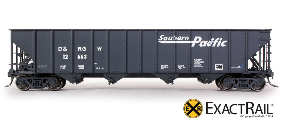 HO Scale: Bethlehem 3483 Hopper - D&RGW - Southern Pacific Speed Lettering - 12663