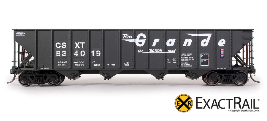 HO Scale: Bethlehem 3483 Hopper - CSX - 3-Panel Ex-D&RGW As Delivered
