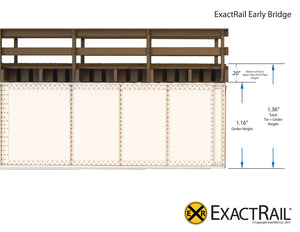 72' Deck Plate Girder Bridge, Wood Handrails : N&W - ExactRail Model Trains - 5