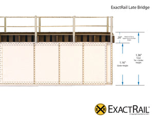HO Scale: 50' Deck Plate Girder Bridge : Undecorated Kits - ExactRail Model Trains - 5