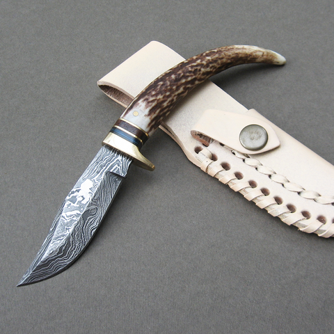 Stag Damascus athame