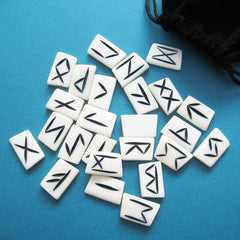 Rune tiles made of animal bone